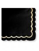 16 tovaglioli di carta neri bordino oro