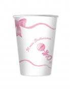 10 bicchieri in cartone il mio battesimo rosa
