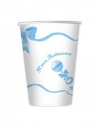 10 bicchieri in cartone il mio battesimo blu