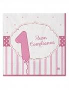 20 tovaglioli di carta 1 Buon Compleanno rosa