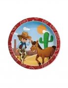 8 piatti in cartone cowboy 24 cm