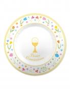 8 piatti in cartone Comunione colorata 25 cm