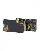 8 segnaposto in cartone foglie tropicali e leopardi