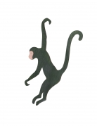 Scimmia in legno verde da appendere