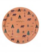 8 Piatti in cartone foresta indiana 23 cm