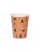 8 Bicchieri in cartone foresta indiana 250ml