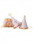 6 cappellini per festa con arcobaleni e brillantini