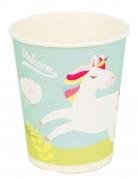 8 bicchieri in cartone color menta unicorno