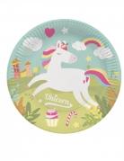 8 piatti in cartone color menta unicorno 23 cm