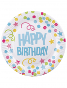 6 Piatti in cartone Happy Birthday coriandoli pastello