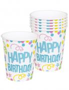 6 Bicchieri Happy Birthday coriandoli pastello