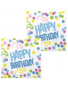 12 Tovaglioli Happy Birthday coriandoli pastello