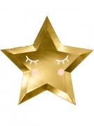 6 piatti in cartone stella dorata 27 cm