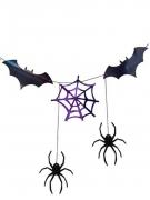 Ghirlanda pipistrelli e ragni nero e viola 3 m