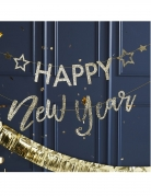 Ghirlanda in cartone Happy New Year brillantini oro