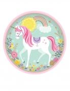 8 piatti in cartone unicorno magico 23 cm