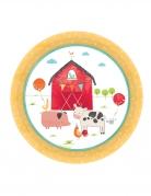 8 piattini in cartone fattoria 18 cm