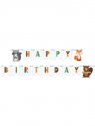 Ghirlanda in cartone Happy Birthday Animali della foresta 2.4 m