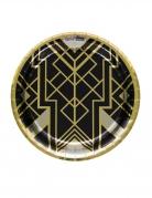 8 piatti in cartone nero e oro anni '20 23 cm