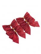 6 fiocchi adesivi brillantini rossi