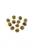 12 mini pigne dorate con brillantini