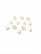 12 mini pigne bianche con brillantini