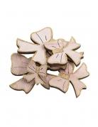 12 fiocchi in legno brillantini oro
