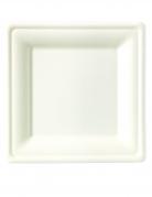 25 piatti bianchi quadrati in fibra di canna 20 cm