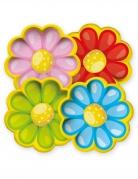 8 piatti in cartone margherite colorate 21 cm