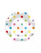 10 piatti in cartone pois multicolor 23 cm