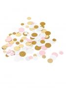 Coriandoli da tavola cerchi bianchi rosa e oro