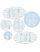6 decorazioni di cartone Welcome baby boy