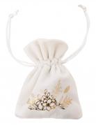 4 sacchetti in velluto bianco e fiori oro