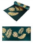 Runner da tavola in velluto verde foglie oro