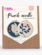 Kit cucito Punch Needle foglia e uccello